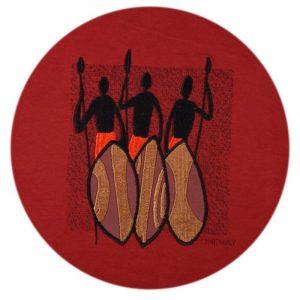 Three Maasai Warriors t-shirt (Terra Cotta))