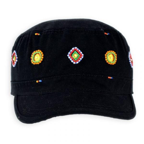 Army Cap Beaded ~ Circle & Diamonds (Black)