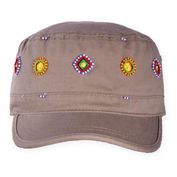 Army Cap Beaded ~ Circle & Diamonds (Khaki)