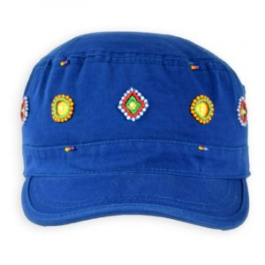 Army Cap Beaded ~ Circle & Diamonds (Navy)